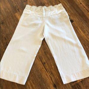 Elevenses Anthropologie linen Capri pants size 6